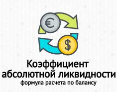 Коэффициент абсолютной ликвидности. Формула по балансу. Пример расчета