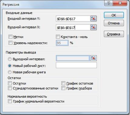 """Надстройка """"Анализ данных"""" в Excel для расчета показателя бета"""