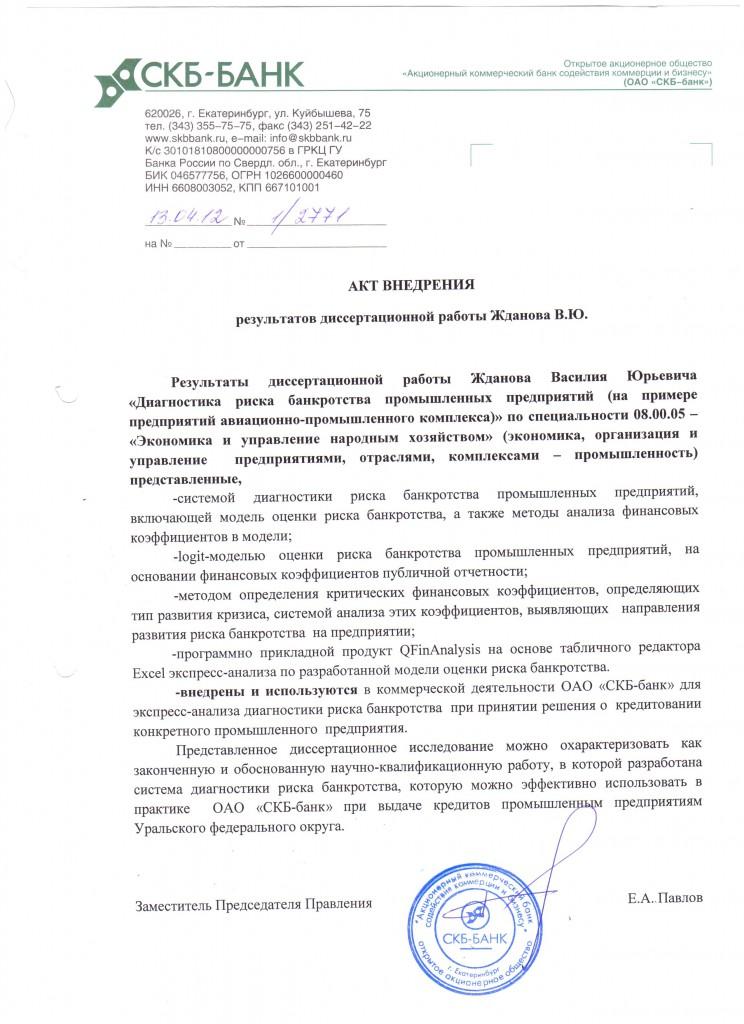 """Акт внедрения в ОАО """"СКБ-Банк"""""""