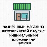 Бизнес план магазина автозапчастей с нуля с минимальными вложениями c расчетами