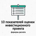 10 основных показателей финансового анализа инвестиционного проекта