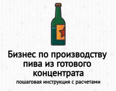 Бизнес-план по производству пива. Расчеты. Пример