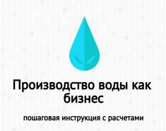 Бизнес-план производства воды. Расчеты. Пример