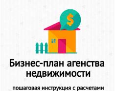 Бизнес-план агентства недвижимости. Расчеты. Пример