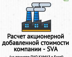 Расчет акционерной добавленной стоимости компании (SVA) в Excel