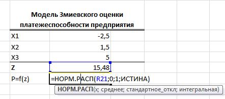 Функция нормального стандартного распределения в Excel