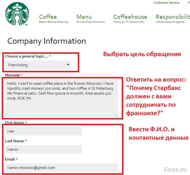 Франшиза Старбакс: заявка на получение в России