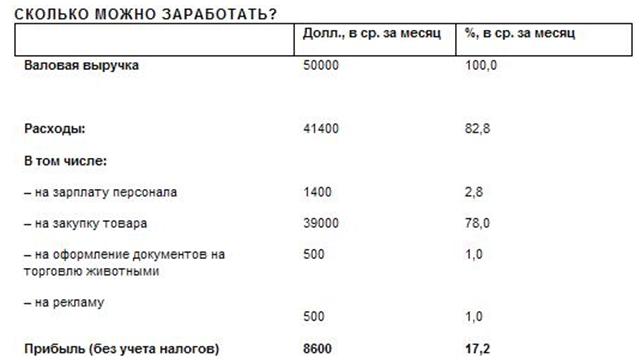 Бизнес-план зоомагазина: расчеты доходов