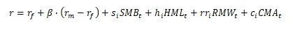Формула 5 факторной модели Фама и Френча