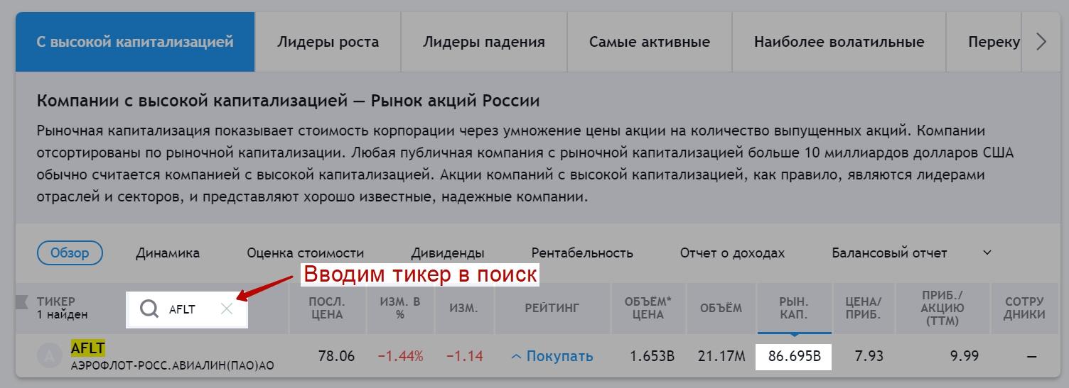 Второй способ узнать капитализацию компании через Московскую биржу