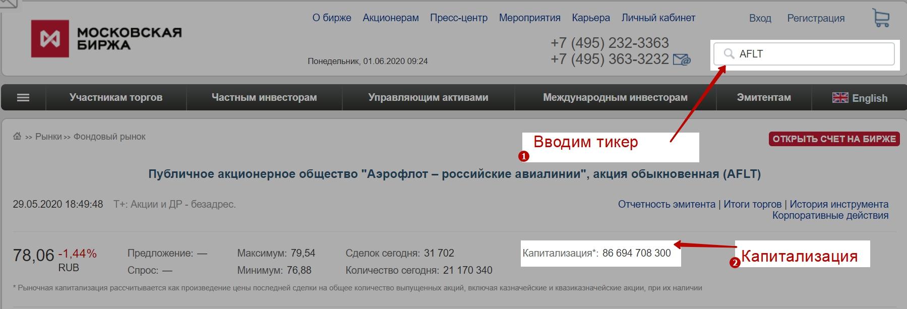 Первый способ узнать капитализацию компании через Московскую биржу