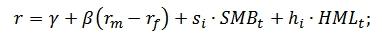 Формула расчета 3-х факторной модели Фама и Френча